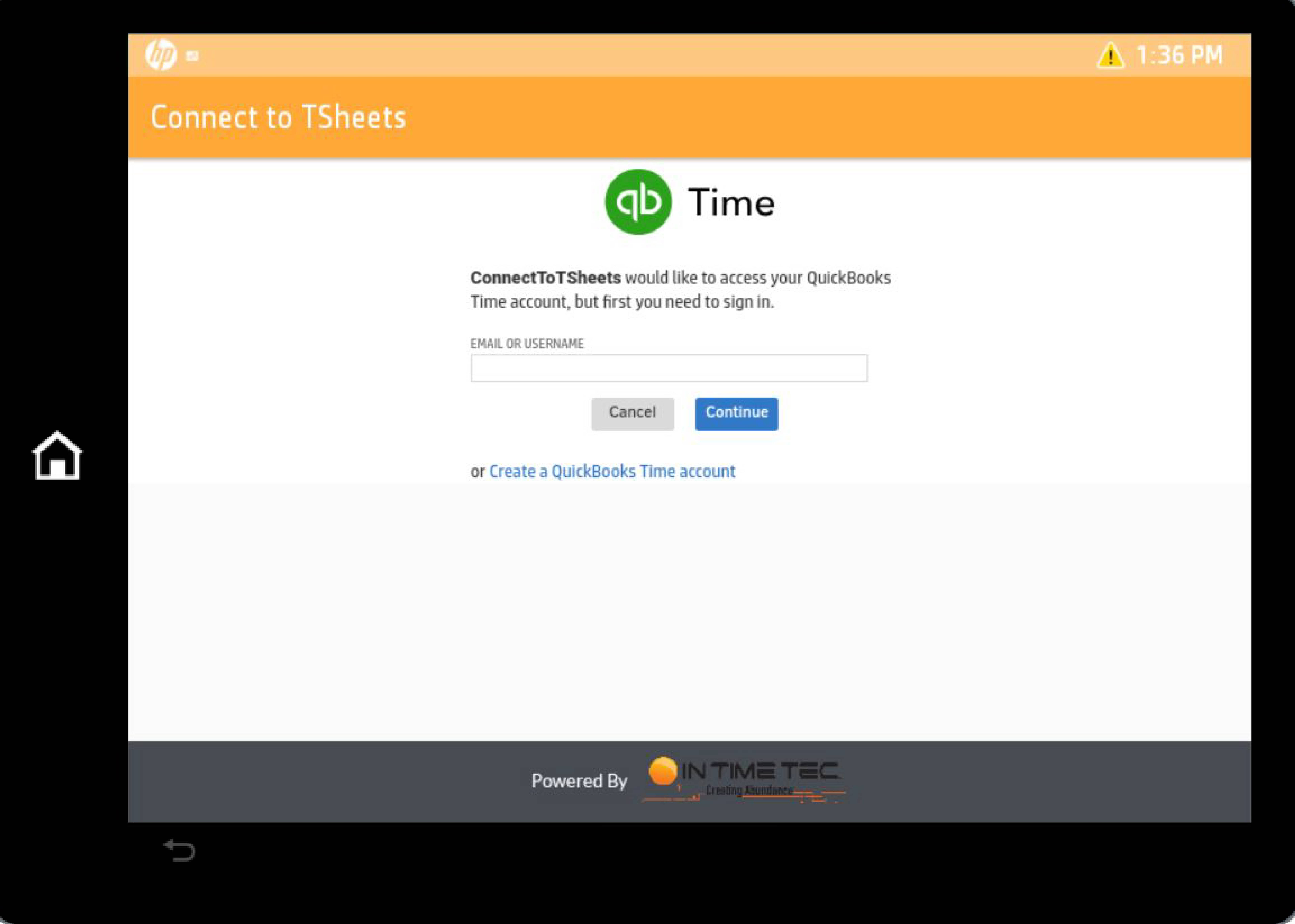 Connect To TSheets Login