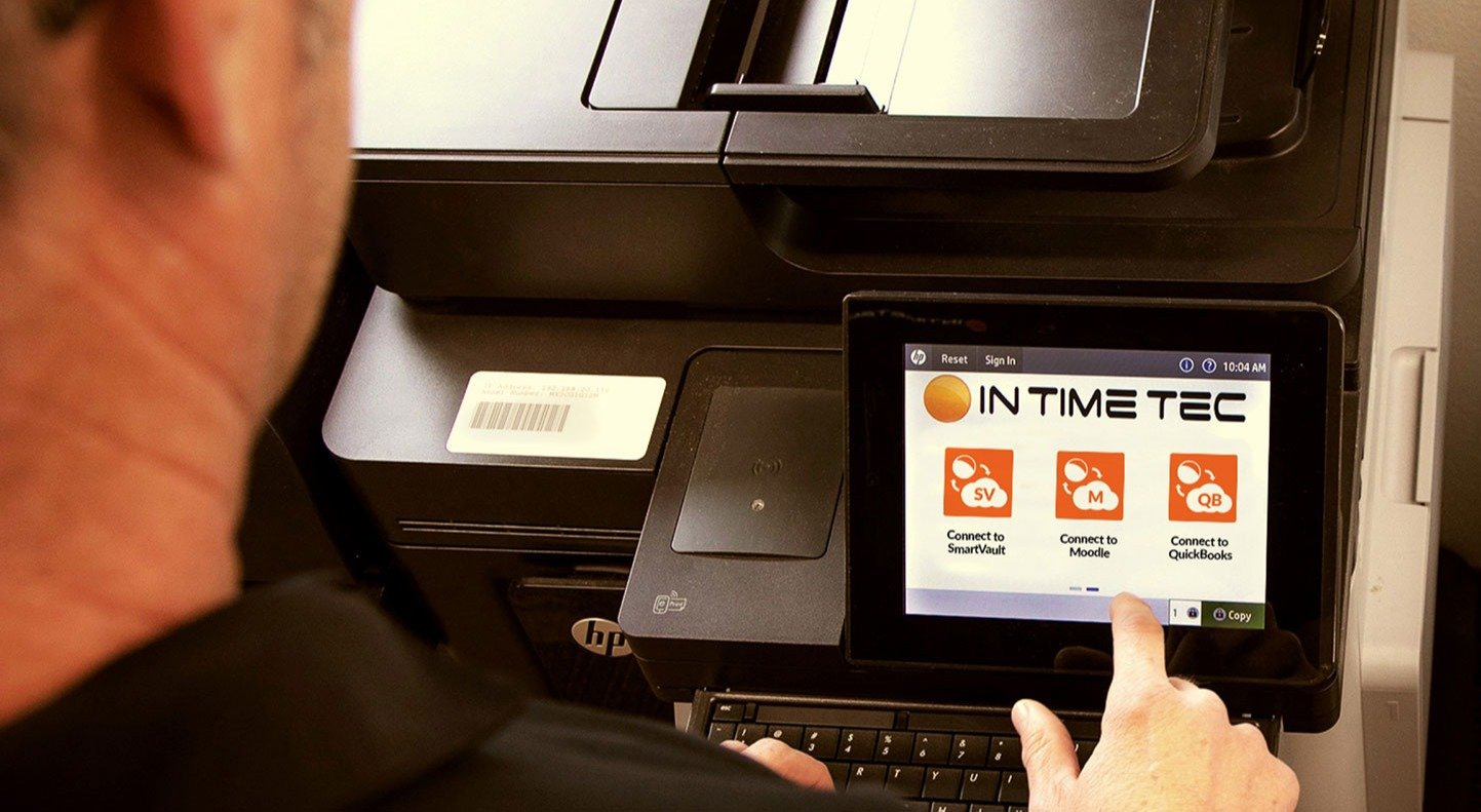 Person accessing hp workpath apps on printer